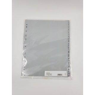 proOFFICE Kunststoff-Register, Zahlen, A4 aus PP, Stärke: 0,12 mm, grau
