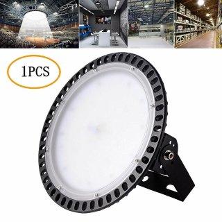 100W UFO LED Hallenleuchte 8000LM 6500K Industrielampe High Bay Licht Fluter Kaltweiß DHL IP20 Kommerzielle 220V LED Leuchte[Energieklasse A+] (Schwarz, 1pcs)