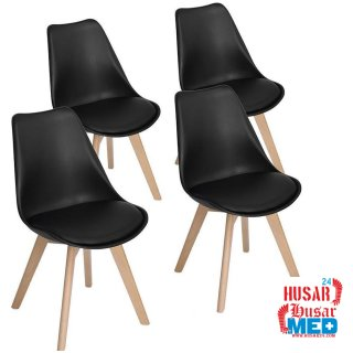 Set 4 Stühle Design Tulpe mit kunstleder Kissen und Beinen aus Buchenholz