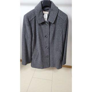 MONA Jacke kuschelige Damen Flauschjacke mit Kaschmir Woll-Mantel Outdoor-Jacke Kurzgröße Grau, Größenauswahl:50 (25 Kurzgröße)