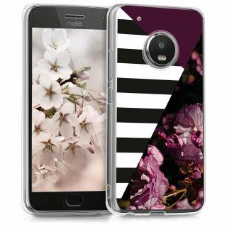 Handyhülle für Motorola Moto G5 Plus - Handy Case in Blumen Streifen Mix Design Pink Schwarz Weiß