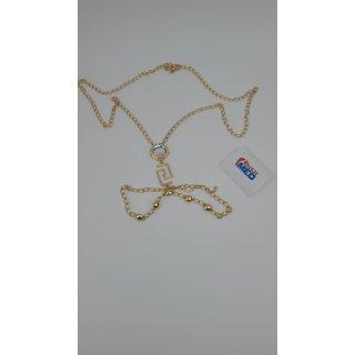 ASOS DESIGN-Körperkette mit Logo-Anhänger und Kristalljuwel in Goldtönen