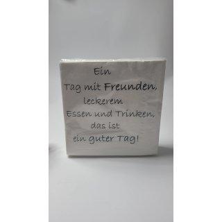 """40 Stück khevga Servietten mit Spruch weiß 33 x 33 cm """"Ein Tag mit Freunden"""""""