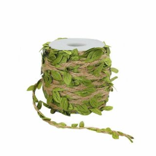 Tenn Well Naturjutefaserschnur, Sackleinen-Blatt-Band mit künstlichen Wein-Grün-