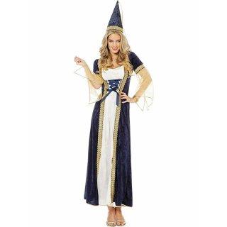 Prinzessin Kostüm Damenkostüme Damen Karneval Fasching Kleid Hut Blau Weiß Gold