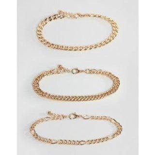 ASOS DESIGN – Packung goldfarbiger Armbandketten im Vintagedesign 1248813