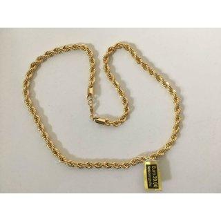 Herren Halskette 6mm Kordelkette 18K Vergoldet 55cm