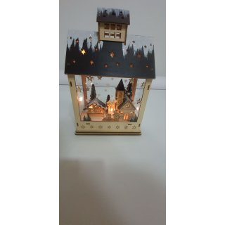 Lichthaus Winterszene mit LED Beleuchtung aus Holz Natur (B/H/T) 20x29x12cm