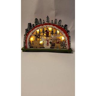 Lichterbogen mit Nikolaus mit LED Beleuchtung aus Holz