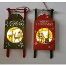 Deko-Schlitten zum Hängen mit Weihnachts-Motiv + LED
