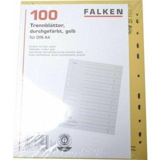 Falken 80001670 Trennblätter A4 Karton gelb