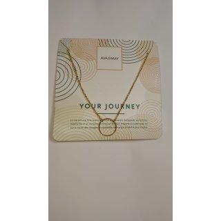 AVA & MAY Your Journey Halskette goldfarben mit Ring Anhänger - Länge 76 + 5 cm