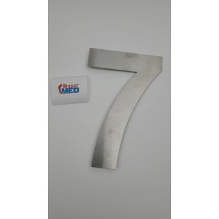 QT Moderne Hausnummer - Groß 20.3 Zentimeter - Gebürsteter Edelstahl (Nummer 7 Sieben), Schwimmendes Aussehen, Einfache Installation und aus massivem hergestellt 304