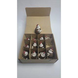 Keramik Hühner klein, braun/creme, 2-fach sortiert, 4,5 x 5 x 7cm Sigro