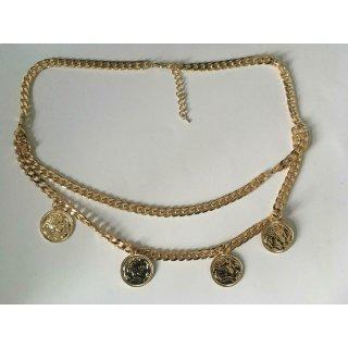 ASOS DESIGN Doppelreihen Halskette mit 4 Anhängern goldfarben